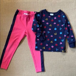 Hanna Andersson leggings and floral shirt